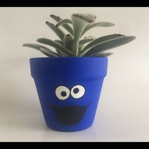 Other - Cookie Monster Terra Cotta Painted Planter